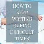 Woman working at a laptop. How to keep writing during difficult times, from Jennifer Crosswhite at Tandem Services.