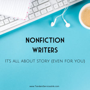Nonfiction writers it's all about story even for you. image of keyboard, earbuds and coffee